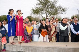 Kruthi Bhat and Keerthana Bhat sang the national anthems.