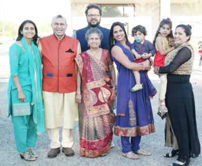 From Left: Roopal (daughter), Ramesh Shah, Kokila (wife), Shilpa (daughter-in-law) holding grandson Niam, Sonal (daughter) holding granddaughter Leya and in the back is son Anand.