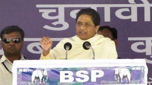 Bahujan Samaj Party supremo Mayawati at an election rally in Deoria district on Saturday. (PTI Photo)