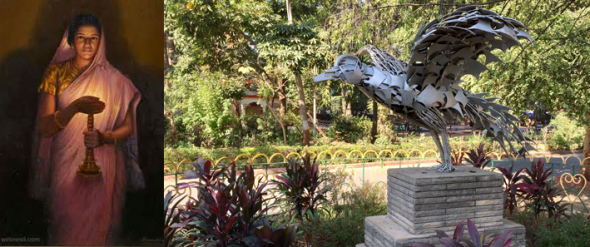 The Laxmi Vilas Palace grounds include a mueum, which displays many of the priceless paintings of Raja Ravi Varma (left). The Gaekwad family also developed the Sayaji Park, which includes a horticultural garden with numerous sculptures (right) and a city museum.