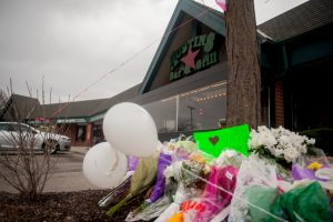 Tributes last week to the gunshot victims outside Austins Bar and Grill in Olathe, Kan., where the attack took place. Credit Amy Stroth for The New York Times