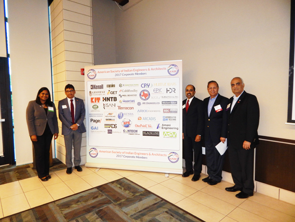 Unveiling the banner for 2017 ASIE Corporate Members. From left: Chaitanya Gampa, who is Membership Chair, Board Member, and Project Manager with Huitt Zollars, Sudhakar Kalaga, President of KIT Professional Inc., Ravi Raj Yanamandala, President of Geotest Engineering, Inc., Dinesh Shah, current ASIE President and President of BDC and Shah Companies, and Chetan Vyas, current ASIE Vice President and also a Vice President of KIT Professional.