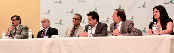 """Seminar presenter was Ranvir """"Biki"""" Mohindra (left) with five panelists: financial planner Randhir Sahni, CPA Swapan Dhairyawan, banker and SOS Chairman Vivek Mehta, journalist Pramod Kulkarni and Juuhi Ahuja, businesswoman with offices both in Houston and India. During the Q&A session, all panelists expressed their support for demonetization."""