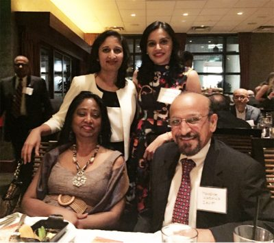 At the healthcare networking mixer, IACF President Dr. Vanitha Pothuri (standing right) with President-elect Mahesh Wadhwa, and board directors Shobana Muratee (seated left) and Dr. Purvi Parikh.