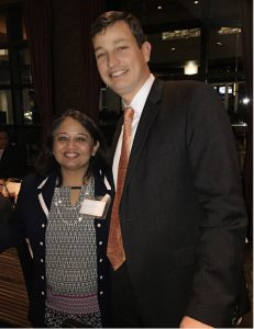 Brian Dean, Sr. VP and CEO of Memorial Hermann Hospital Texas Medical Center with a guest at the healthcare mixer on Thursday, March 2 at Seasons 52 in City Centre.