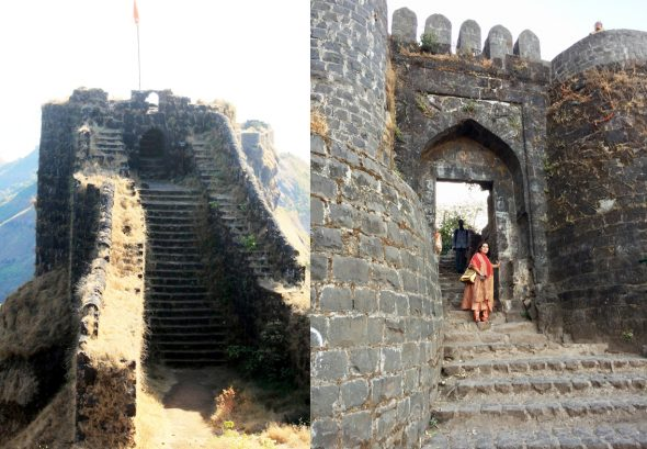 Sahyadri mountains on the Western edge of Maharashtra are dotted with fortresses built about two thousand years ago. Sinhgad (above) is 19 miles south of Pune at an elevation of 4,300 ft. Pune gate (right) is about halfway up.