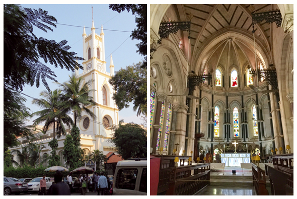 St. Thomas Cathedral features a clock tower and flying buttresses. The interior is remarkable for its magnificent stained glass windows.