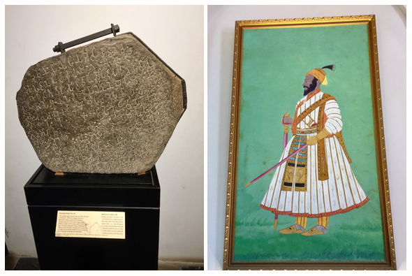 The Vastu Sangrahalaya features Ashoka's Edict No. IX, found at Nalla Sopara near Mumbai. One of the few original paintings of Shivaji hangs near the entrance of the museum.