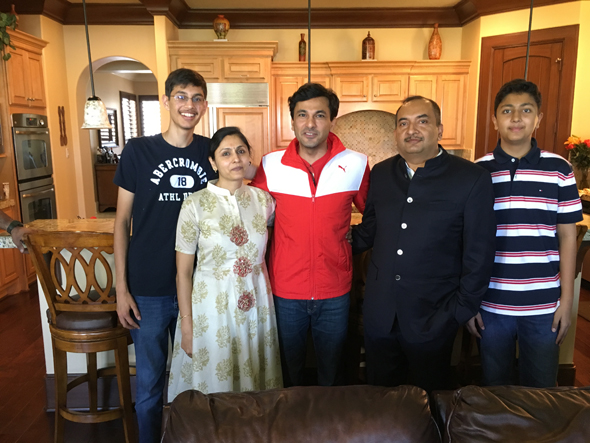 Chef Vikas Khanna with Jiten & Shalu Agarwal and sons Rahul and Varun, at the Agarwal residence on Saturday, March 25.
