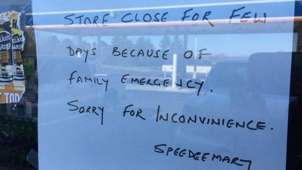 A sign on Harnish Patel's SpeedMart store in Lancaster, South Carolina. Patel was shot dead outside his house. (Photo credit:Greg Suskin's Twitter handle)