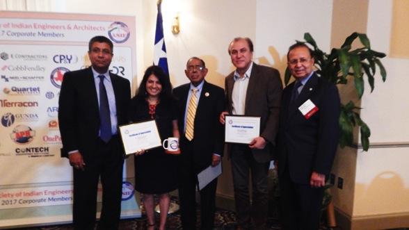 From left: ASIE Board Member Madhu Kilambi, Manisha Gandhi - TV Asia, Koshy Thomas - Voice of Asia, Jay Malhotra - Indo-American News and ASIE President Dinesh D. Shah.