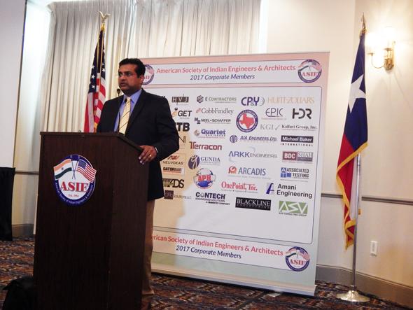 Shashi Kumar addressing the ASIE audience.