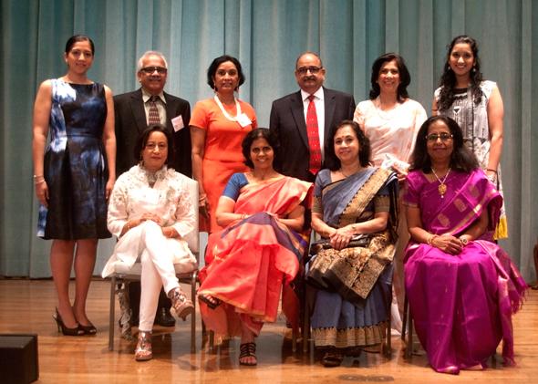 Daya Board: from left (standing): Anita Manoharan, Dinesh Pejevar, Annu Naik, Sesh Bala, Sheela Rao, and Anasuya Kabad. From left (sitting): Shaila Patel, Lakshmy Parameswaran, Viji Raman, and Vatsala Bhaskaran. Absent: Jyoti Kulkarni, Fatima Mohiuddin, Charu Verma.