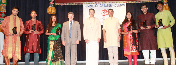 Youth award winners 2016. From left: Arpan Amin, Aman Sharma, Maya Iyer, Judge Emmett, Joseph Emmett, Saumitra Gokhale, Smriti Ahuja, Nikhil Jaiswal and Vaishnav Kuruvanka