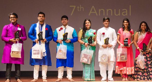 Hindu youth awards 2017 winners were, from left: Mukund Nair, Harsh Mehta, Siddhant Ahuja, Govinda Ramirez, Shail Gajjar, Nikita Zamwar and Haripriya Sundaramurthy.