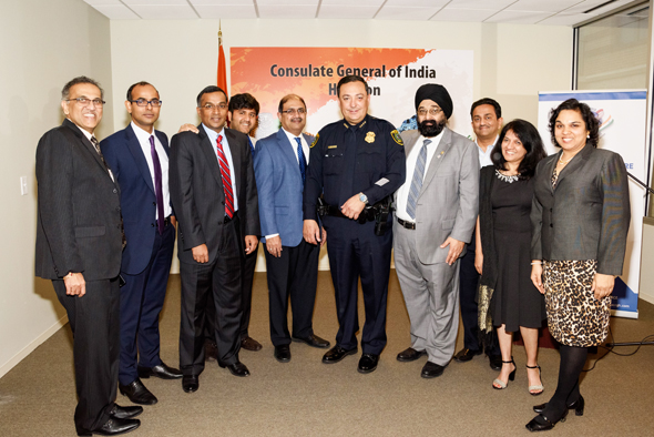 Attendees and Chamber members with Chief Acevedo. Photos: Bijay Dixit