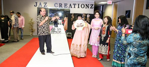 Dr. K.D. Upadhaya, President of the IHA Houston Chapter with Jasmeeta Singh and Sangeeta Pasrija (right) felicitated Parul Fernandez on her birthday
