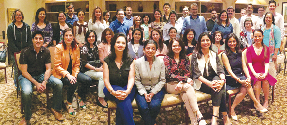 A group photo of the panel of women entrepreneurs and executives (front row) with SOS attendees. The panelists consisted of Devina Bhojwani (left), Farida Abjani, Sayli Kulkarni, Preity Bhagia, Huma Jafry and Jenny Moore.