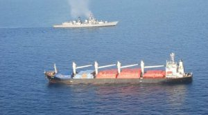 Attached Photo, courtesy Indian Navy: INS Mumbai and the pirated vessel, MV OS 35 in the Gulf of Aden. (Source: Indian Navy)