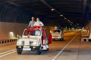 Prime Minister Narendra Modi inaugurated the Chenani-Nashri Tunnel, in J&K on Sunday. Photo: PTI