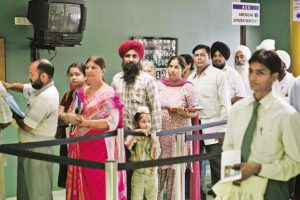A file photo of Indian nationals seeking US visas waiting in a queue at the consular section of US Embassy in New Delhi. Photo: AP