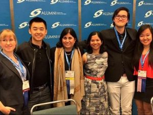 Linn, Raymond, Maya Ajmera, Diya, Christopher, and Kathy at an Intel ISFE 2017 symposia session ( Photo Courtesy: societyforscience.org