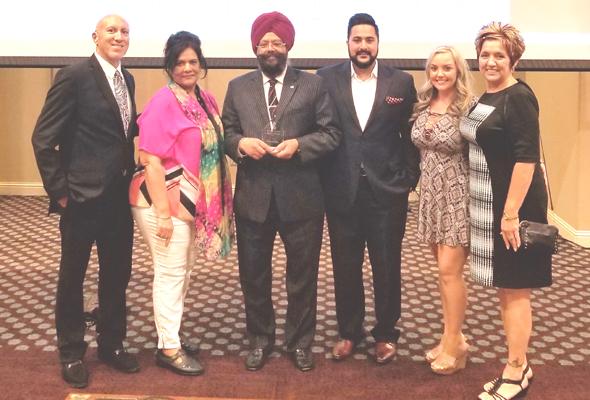 From left: John Rocca, Seema and Harjit Galhotra, Balraj Galhotra, Kayla Fisher, Denise Rocca