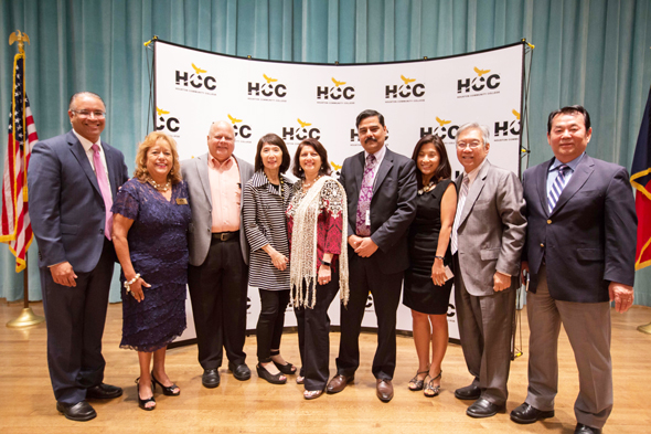 From left, Mustafa Tameez of Outreach Strategists; HCC Trustee Eva Laredo; Deepak Sane; Linda Toyota, HCC AVC for Communications; HCC Trustee Neeta Sane; Dr. Muddassir Siddiqui, President, HCC Central Campus; Eunjin Hwang, Gordon Quan, attorney & former City Councilman and Jason Yoo.