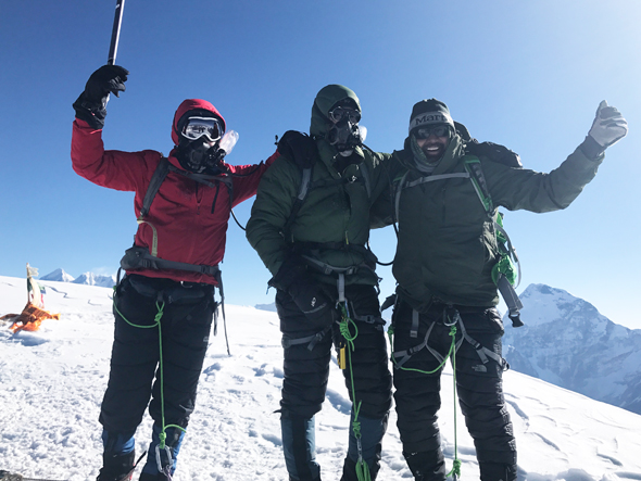 From left: Navraj Pradhan, Mike Hobson, Rick Pal. Team on the summit.