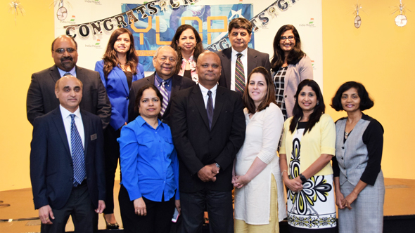 YLDP Board of Directors 2017 with Consul General of India, Dr. Anupam Ray and his wife Dr. Amit Goldberg Ray at the Graduation 2017 Event at India House on Saturday, April 29.