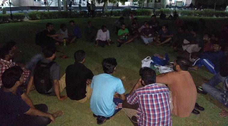 IIT Madras students participating in a beef fest organised to protest the Centre's new rules on cattle slaughter (Source: ANI)