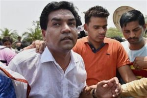 Kapil Mishra at Rajghat in New Delhi on Sunday. Mishra follows several senior leaders who have quit the Aam Aadmi Party, including Yogendra Yadav, Prashant Bhushan and Vinod Kumar Binny, most of whom cited a lack of inner party democracy. Photo: PTi