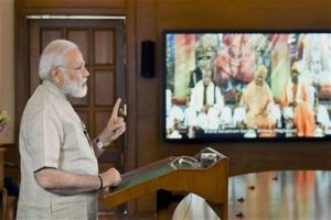 Addressing Bharat Sevashram Sangha, in Shillong through video conferencing, Narendra Modi lamented that 'only Gangtok had found a place among the first 50 clean cities'. Photo: PTI