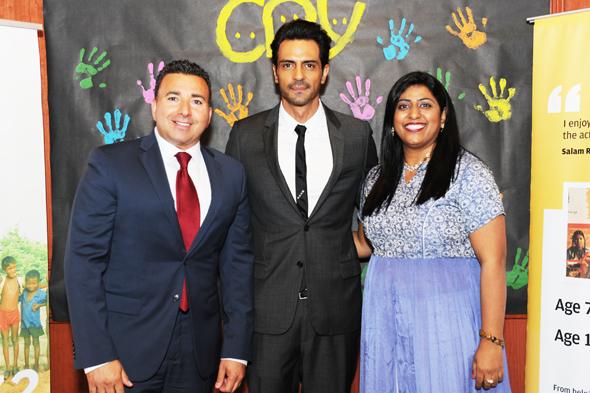 Arjun Rampal with the CRY team - Patrick & Lipika.