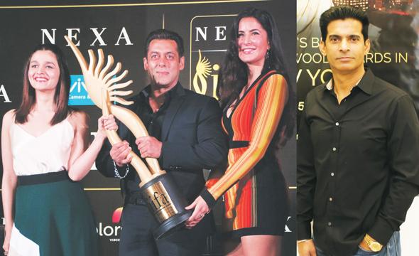 From left: Alia Bhatt, Salman Khan and Katrina Kaif at IIFA 2017 Press Conference at Mumbai, Right: Rajender Singh of Star Promotions (Houston)