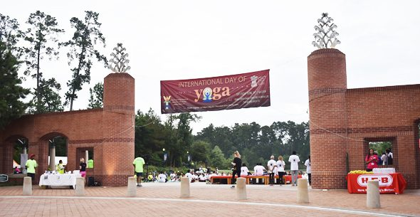 The entrance to Towne Green Park in The Woodlands was the site of the International Yoga Day event this past Saturday, June 24