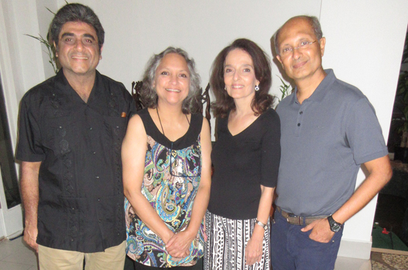 Deepak Dala (right) next to his wife Marzia with his hosts Atul and Aarti Vir