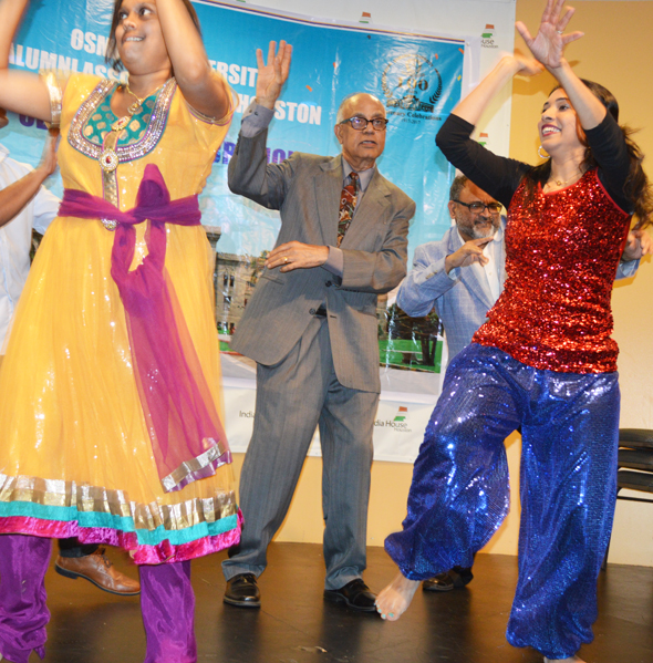 Mahendra Korivi, event committee coordinator sang onstage while dancers from the Bollywood Dancing Stars performed onstage.