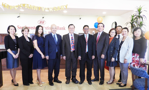 From left: Operations Officer Jenny Chien, Senior Vice President Operation Officer Joy Langston, Senior Vice President and Chief Financial Officer Betsy Reese, Vice Chairman Ted Hsieh, Chairman of the Board, C.K. Lee, Board member Hasu Patel, President /CEO Gary Owens, Senior Vice President and Commercial Lending Officer Selina Hsieh, Senior Vice President and Lending Officer Jack Kuo, Public Relations Officer Ling Chuang, Senior Vice President and Lending Officer Catherine Liang.