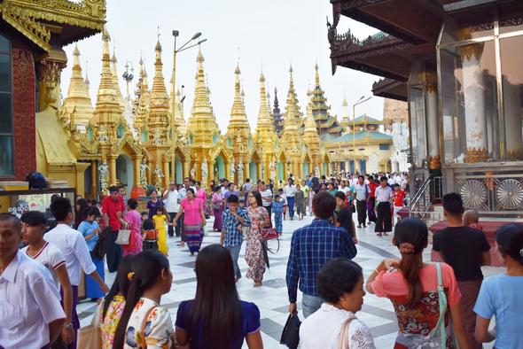 Shrines dot the 1,420 ft perimeter of the pagoda