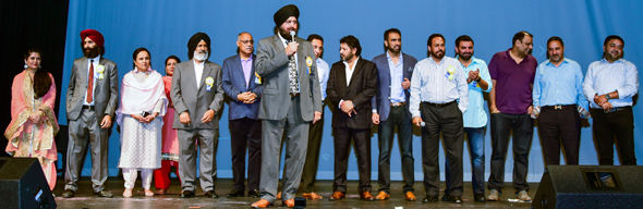 The organizing committee for the Vaisakhi Night onstage with Punjabi Society of Houston president Pritpal Singh
