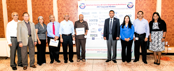 ASIE speakers with ASIE Board of Directors – VP Chetan Vyas (left), President Dinesh Shah, Tej Kour, Speakers Arun Singhal, Raj Mashruwala, and Dr. Sulekh Jain with Sirish Madichetti, Archana Sharma, Secretary Gaju Patel and Chaitanya Gampa. Photo: Navin Mediwala