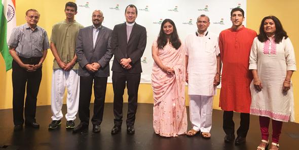 From left: Krishan Gupta, Arjun Luthra, Col. Vipin Kumar, Rev. Gregory Han, Sunanda Vashisht, Ramesh Shah, Rahul Pandit, and Dr. Falguni Gandhi.