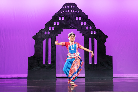 Meha Mohapatra gave her Odissi debut performance on Sunday, July 9 at the auditorium in the Evelyn Rubenstein Jewish Community Center.