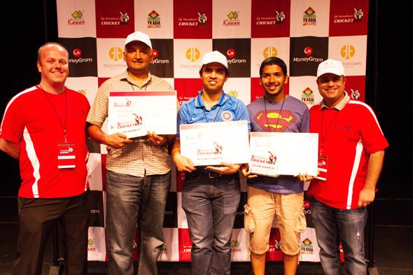 From left: Stephen Davies, Quizmaster, Keshava Nuggehalli (First Runner Up), Adil Khwaja (Regional Champion), Nithin Valentine (Second Runner Up) Rahul Walia, Founder of MoneyGram Cricket Bee