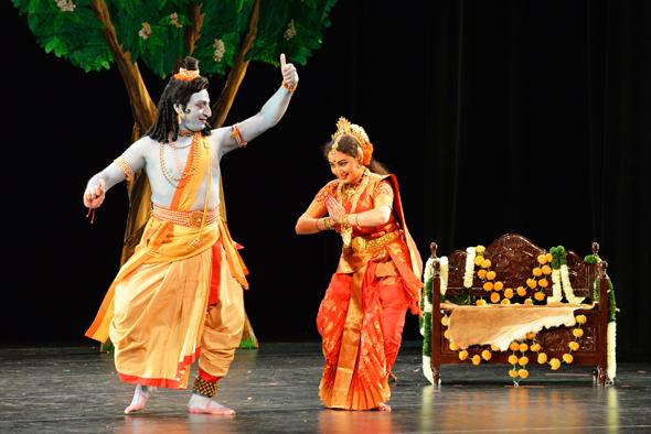 Rama (Vedantam Ragahava) with Sita (Sharmi Padmaja Vedantam) in exile