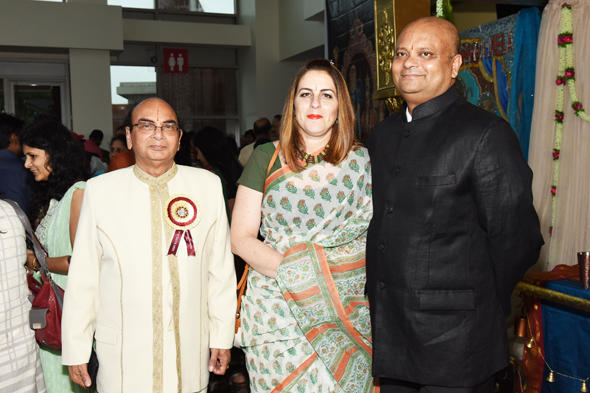 Dr. Arun Verma of the Shri Sita Ram Foundation with the Indian Consul General Anupam Ray and his wife Amit at the Ram Leela program at Stafford Civic Centre on Saturday, July 15