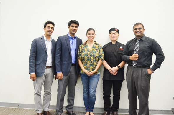 From left: Purav Patel - Bagel Dots, Masroor Fatany - The Halal Guys, Ana Rojas Bastidas - TiE Houston Executive Director, Gary Yan - Alings Hakka, and Ravi Brahmbatt - TiE Houston Board Member/ HCC Faculty.
