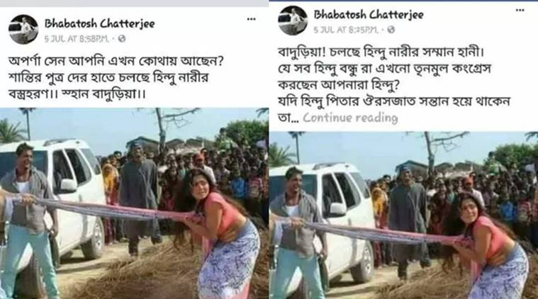 Fake photo shared on Facebook to incite violence in West Bengal. Source: ALTNews
