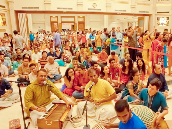 Ecstatic Chanting of kirtan in temple